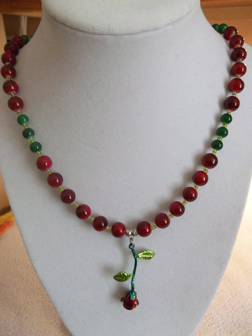 Metal Rose glass Bead Necklace (N972)