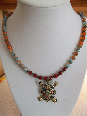 Bronze Turtle Bling Glass Bead Necklace (N973)