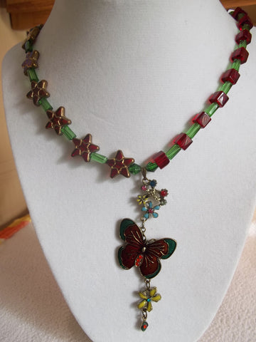 Green Red Butterfly Flowers Stars Glass Bead Necklace (N975)