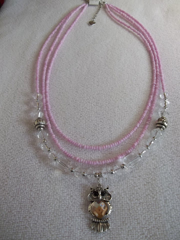 Pink Three String Seed Bead Owl Pendant Necklace (N976)