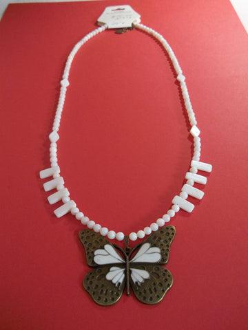 Bronze Cream Butterfly Pendant Glass Bead Necklace (N987)