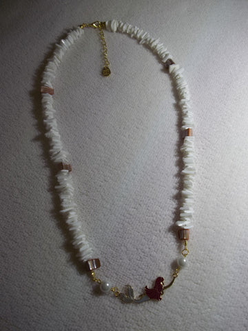 White Puka Shell Mother of Pearl Mermaid Necklace (N980)