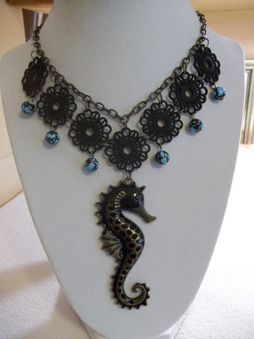 Bronze Black Metal Lace Black Seahorse Necklace (N984)
