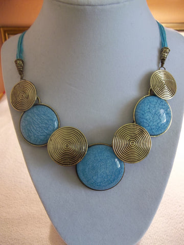 Blue Lace Blue Cord Bronze Blue Round Pendants Necklace (N987)