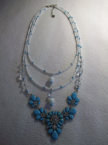 Blue White Glass Seed Bead Silver Blue Bib Pendant Necklace (N991)