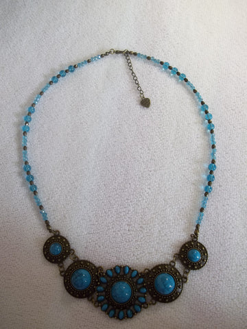 Bronze Blue Glass Bead Bib Necklace (N994)