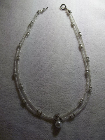 Double Pearl Bling Necklace (N995)