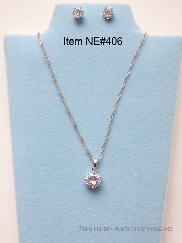 Zircon Gem Necklace Earring Set (NE406)
