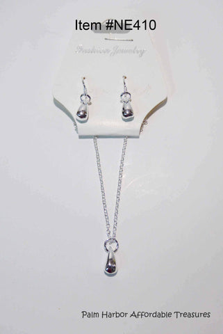 Silver Drops Necklace Earring Set (NE410)