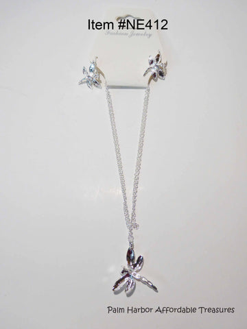 Silver Dragon Fly Necklace Earring Set (NE412)