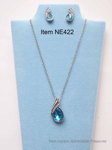 Austrian Crystal Water Drop Necklace Earring Set (NE422)