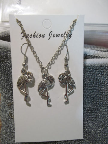 Silver Flamingo Necklace Earrings Set (NE433)