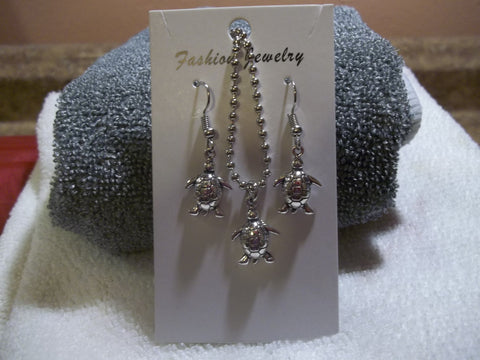 Silver Turtle Necklace Earring Set (NE435)