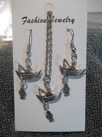 Silver Fisherman in Boat with Fish Necklace Earrings Set (NE437)