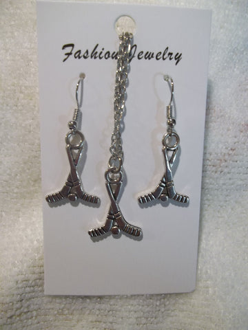 Silver Hockey Sticks and Puck Necklace Earrings Set (NE439)
