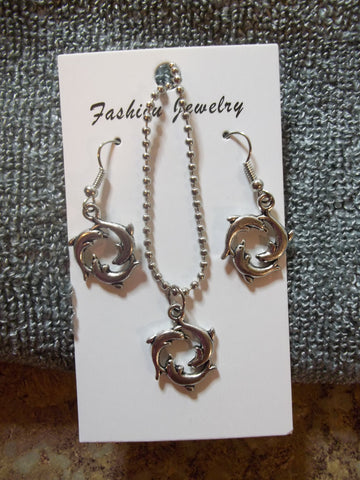 Silver Triple Dolphin Necklace Earring set (NE441)