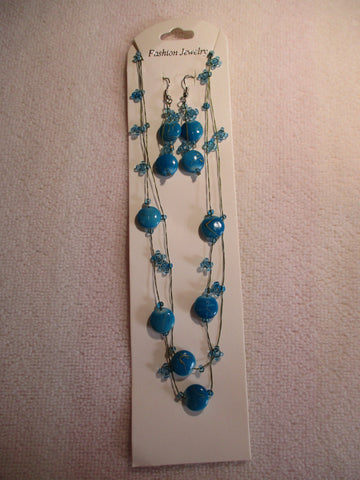 Blue Beads Blue Seed Beads Thread Necklace Earring Set (NE443)