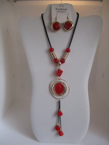 Black Tube Chain Gold Rings Red Beads Necklace Earrings Set (NE445)