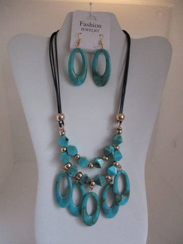 Black Cord Gold Beads Turquoise Beads Necklace Earrings Set (NE447)