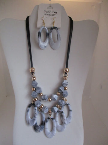 Black Cord Gold Beads Gray Beads Necklace Earrings Set (NE448)