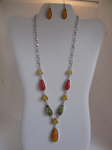 Silver Chain Red Yellow Green Tear Drop Crackle Silver Beads Necklace Earrings Set (NE451)