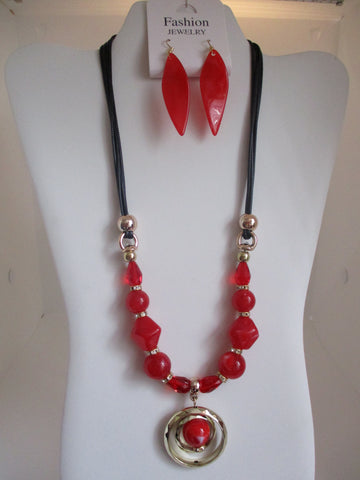 Black Cord Gold Beads Gold Rings Red Beads Necklace Earrings Set (NE454)