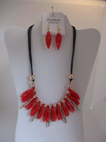 Black Cord Red Gold Twist Bead Necklace Earring Set (NE460)