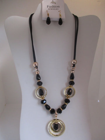 Black Cord Black Tear Drop Bling Beads Gold Rings Necklace Earrings Set (NE463)