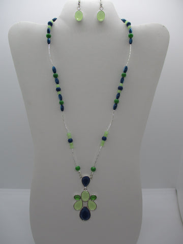 Silver Tubes Green Blue Glass Beads Pendant Necklace Earring Set (NE477)