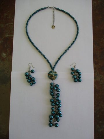 Silver Dark Turquoise Glass Beads Pearls Star Fish Pendant Neck Tie Necklace Earring Set (NE497)