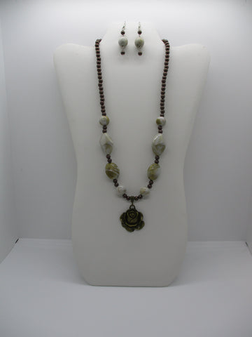 Brown Pearls Swirl Acrylic Beads Bronze Rose Pendant Necklace Earring Set (NE480)