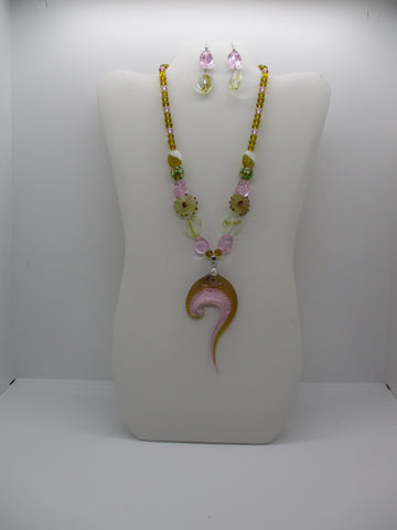 Brown Pink Green Glass Beads Glass Swirl Lampwork Pendant Necklace Earrings Set (NE482)