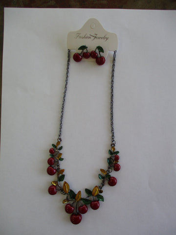 Dark Gray Chain Cherries Bib Necklace Earrings Set (NE486)