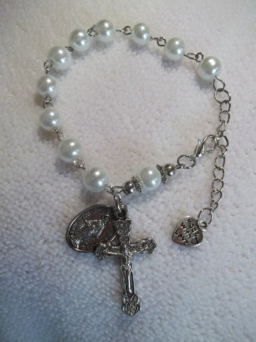 Silver White Pearls Bracelet Rosary (R105)
