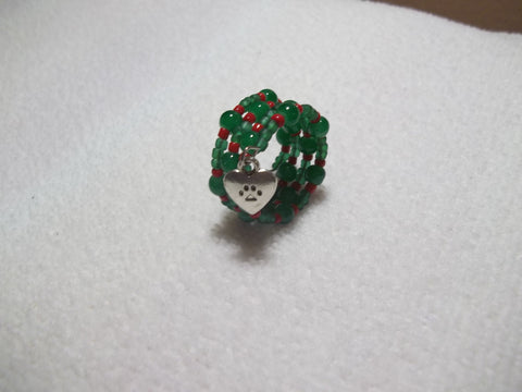 Memory Wire Green Red Glass Beads Silver Paw Ring (R10)