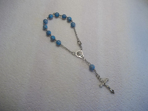 Light Blue Silver Dots Bracelet Rosary (R110)