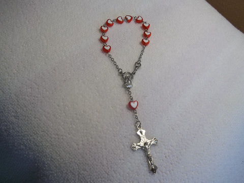 Red White Hearts Bracelet Rosary (R112)