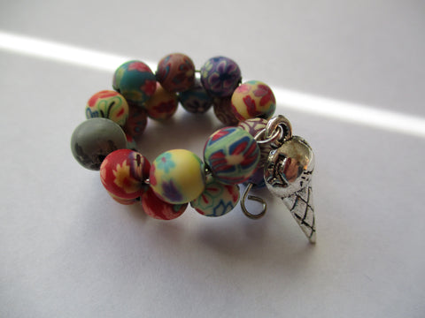 Memory Wire Multi Color Rubber Beads Ice Cream Cone Ring (R13)