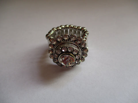 Silver Diamond Bling Snap Button Stretch Ring (R14)