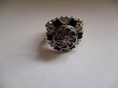 Silver Black Pink Bling Stretch Snap Button Ring (R18)