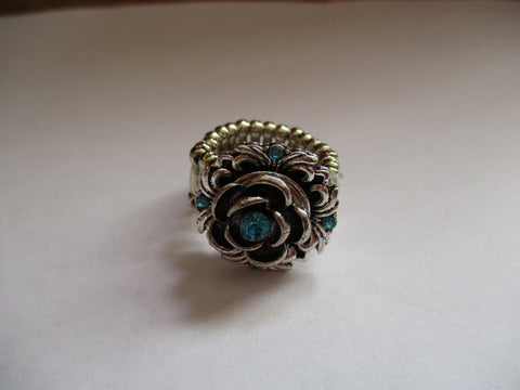 Silver Rose Blue Bling Stretch Snap Button Ring (R19)