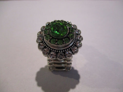 Silver Diamond Bling Green Snap Button Stretch Ring (R24)