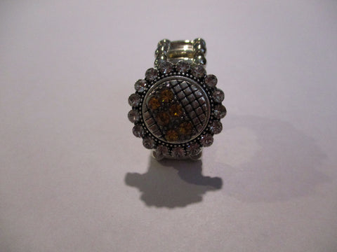 Silver Diamond Bling Topaz Snap Button Stretch Ring (R25)