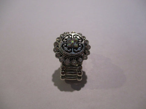 Silver Diamond Bling Changing Color Rhinestone Snap Button Stretch Ring (R27)
