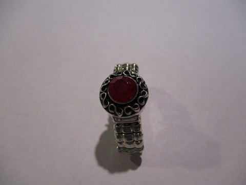 Silver Red Snap Button Stretch Ring (R32)