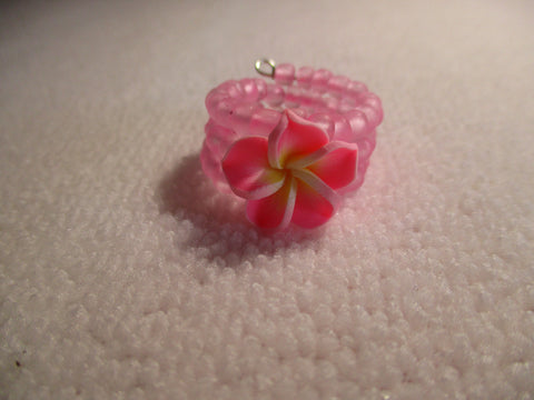 Memory Wire Pink Glass Seed Beads Pink Plumeria Flower Ring (R34)