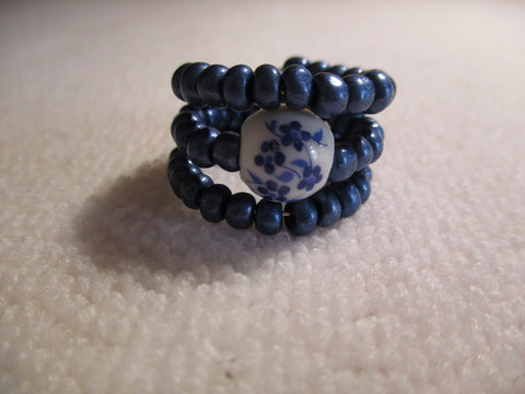 Memory Wire Blue Glass Seed Beads Blue Flower Glass Bead Ring (R40)
