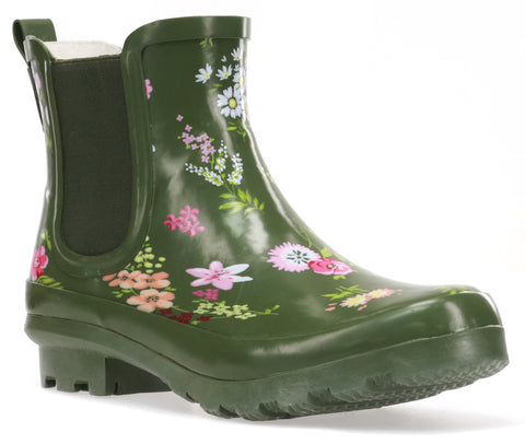 WOMEN'S TRANQUIL FLORAL CHELSEA RAIN BOOT - OLIVE
