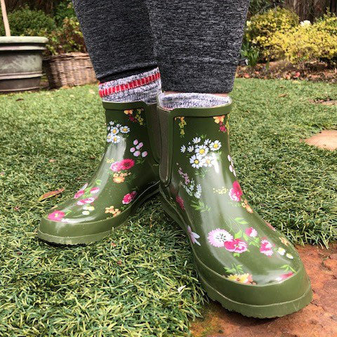 Western Chief Tranquil Floral Chelsea Boots in Olive, worn by Linda Vater