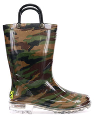 Western Chief Kids Camo Lighted Boots - Green
